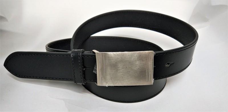 Split belt for men - black split belt with heavy plated buckle