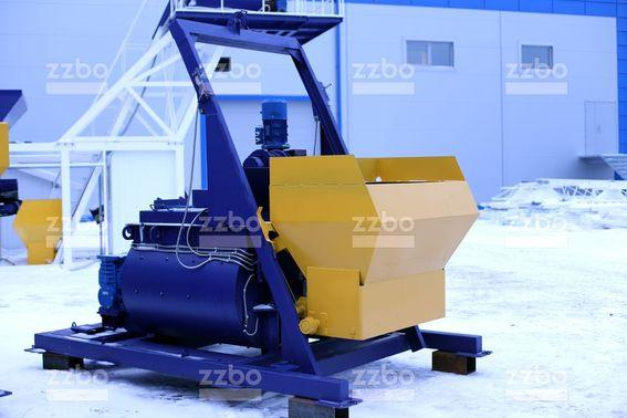 Twin-shaft concrete mixers with skip