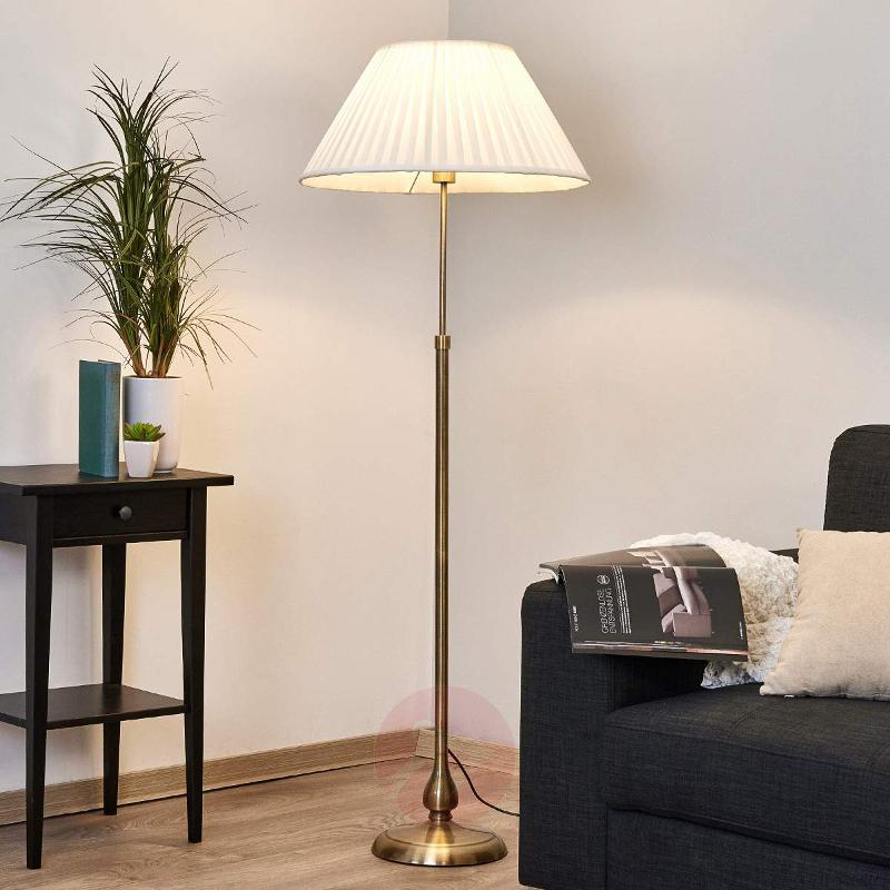 Leilan floor lamp, fabric lampshade, E27 LED - Floor Lamps