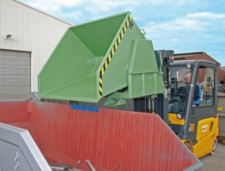 Tilting container, forklift truck attachment - Container with fork sleeves and rolling mechanism for emptying