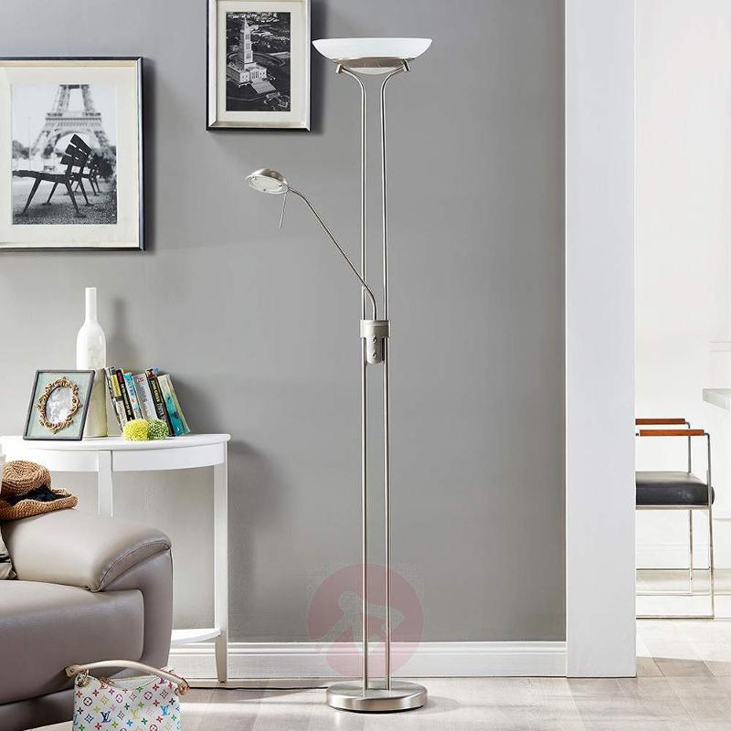 LED uplighter Yveta with a reading lamp - Floor Lamps