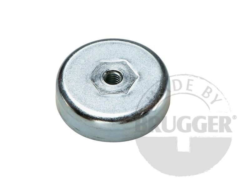 Flat pot magnets hard ferrite, with internal thread - null