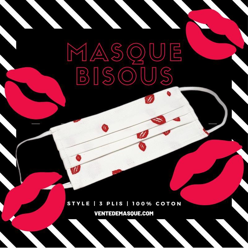 Masque 3 Plis Bisous - null