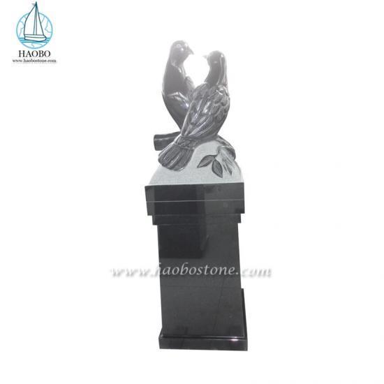India Black Carvings Headstone Dove Engraved Gravestone - Headstone