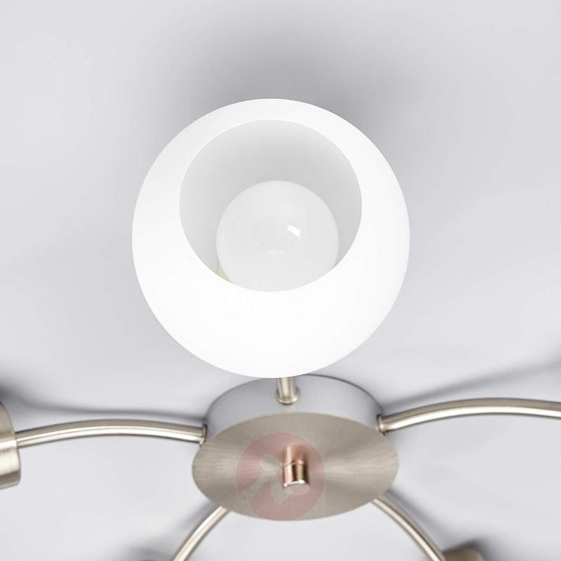Round 5-bulb LED ceiling light Elaina,nickel matte - Ceiling Lights