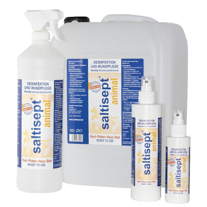 Saltisept Animal - Schnelldesinfektion, Wundpflege und Hygiene für Haut, Pfoten, Haus und Stall