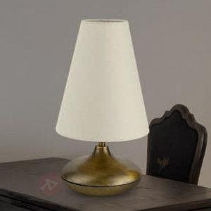Lampe à poser Sarita avec abat-jour textile clair - Lampes à poser en tissu
