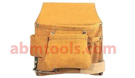 6 Pocket Split Leather Carpenter Nail & Tool Bag - Double stitched & rivet reinforced