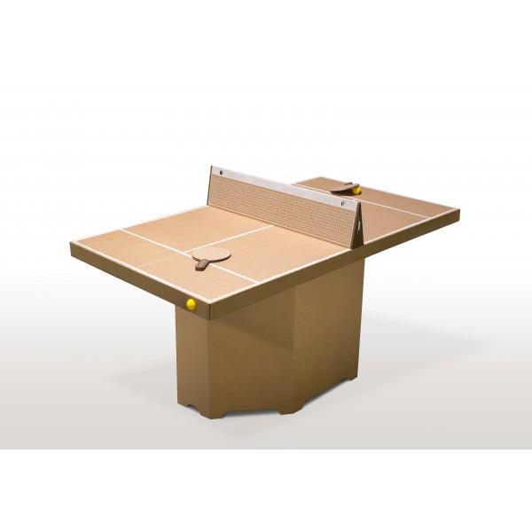 Table ping-pong/mini-tennis carton brun - null