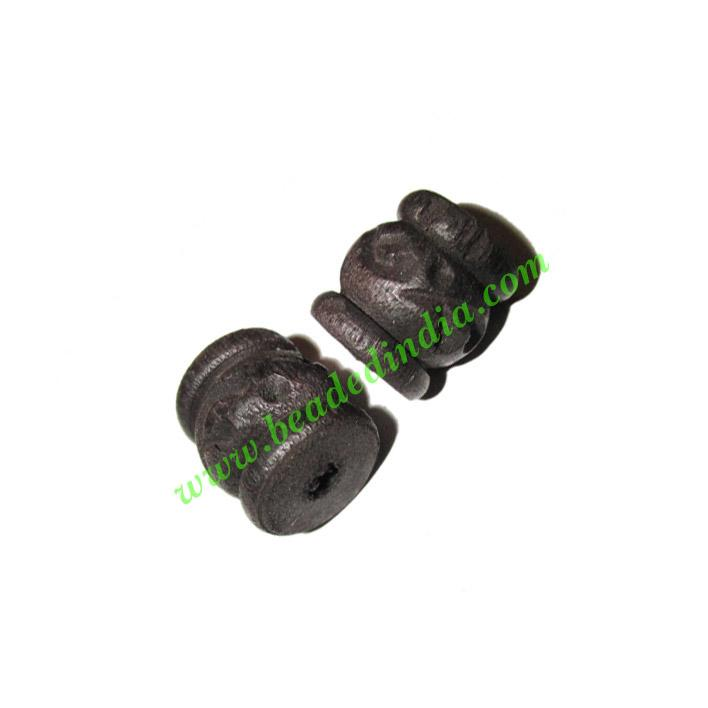 Wooden Ebony Beads, color black, size 14x15mm, weight approx - Wooden Ebony Beads, color black, size 14x15mm, weight approx 3.34 grams