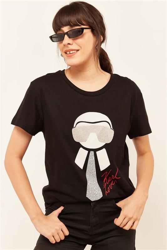 Women Black Stone And Printed T-shirt - Women's T-Shirt