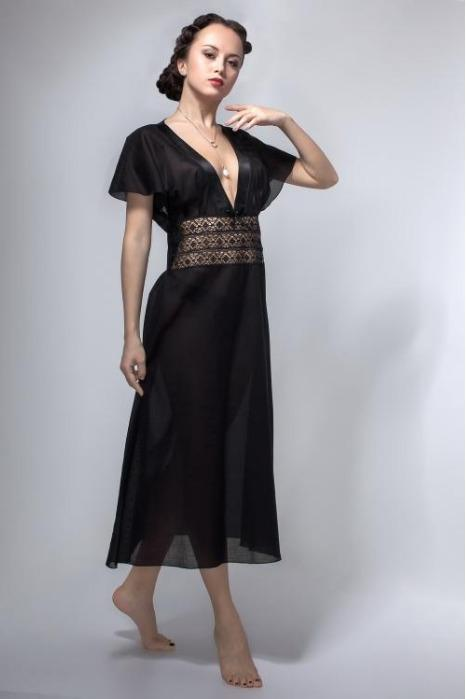 A beautiful nightgown made of 100% black cotton. -