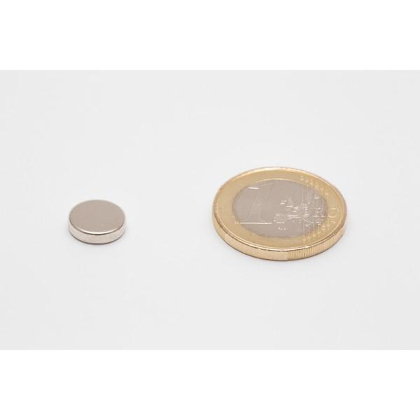 Neodymium disc magnet 10x2,5mm, N45, Ni-Cu-Ni, Nickel coated - Disc