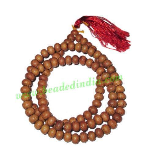 White Sandal Wood Beads Mala, Auspicious Wood Beads-Seeds St - White Sandal Wood Beads Mala, Auspicious Wood Beads-Seeds String (mala), size: 7