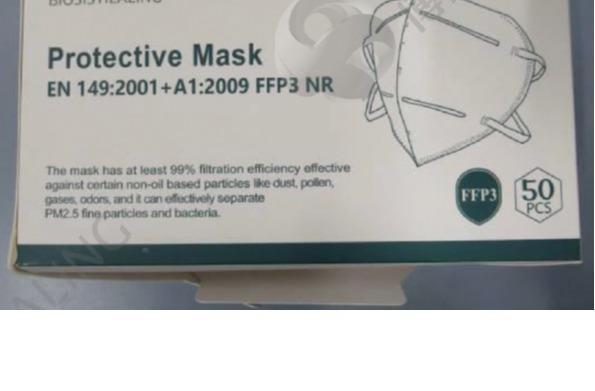 FFP3 - Protective Mask EN149:2001 + A1:2009 FFP3 NR PFE>99%
