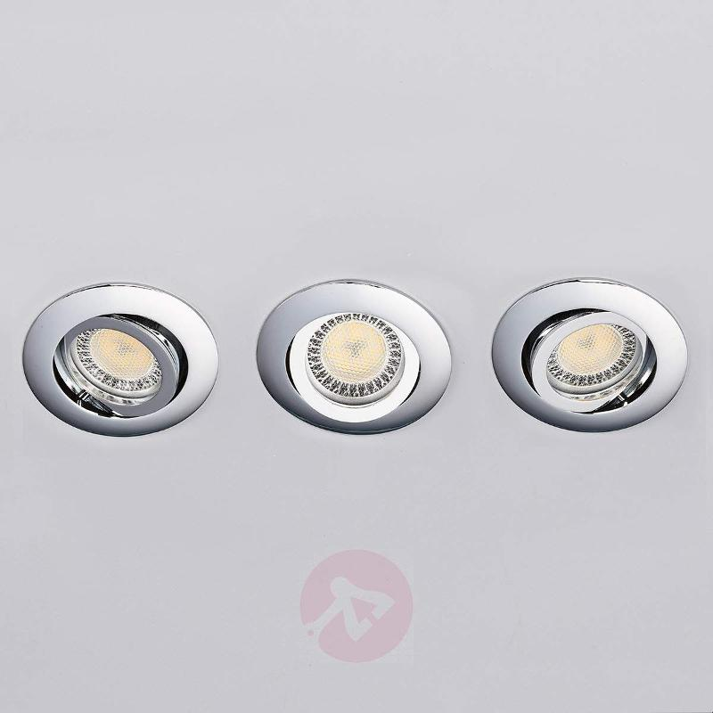 Lisara - 3 piece LED spotlight in chrome, round - Recessed Spotlights