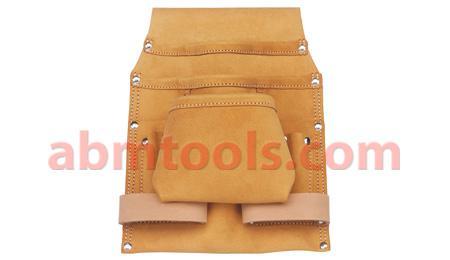 8 Pocket Split Leather Carpenter Dry Wall Nail & Tool Bag - Wide belt tunnel slot.