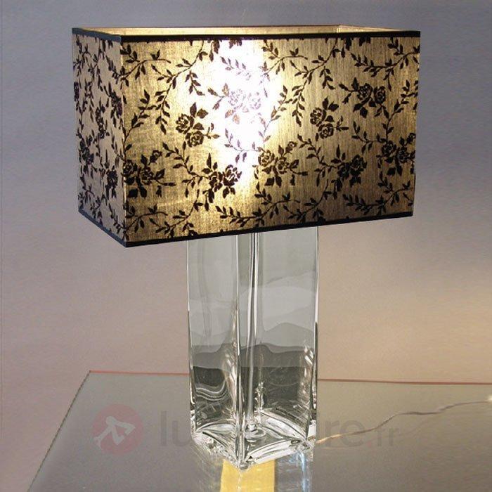 Belle lampe à poser SANDRA pied transparent - Lampes à poser en tissu