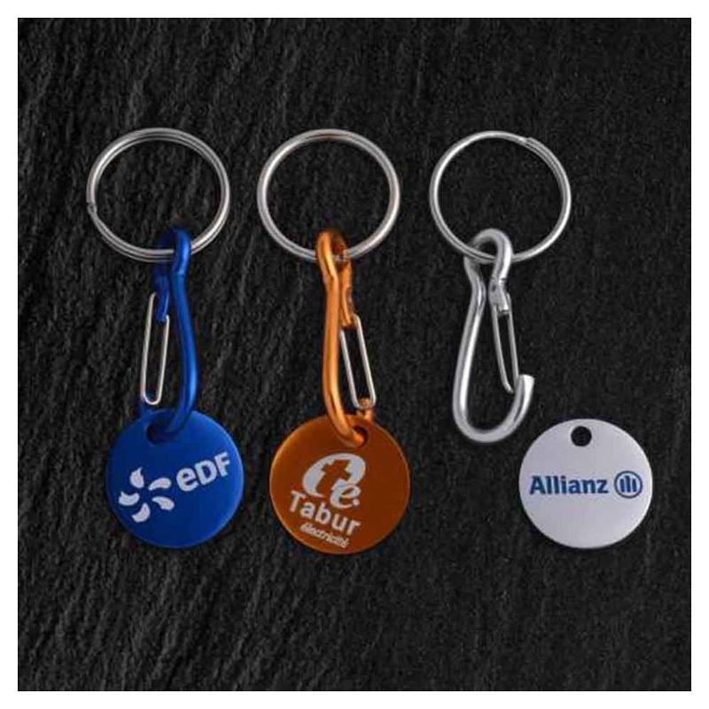 Porte-clés jeton aluminium - Marquage sérigraphie - Porte-clés métal