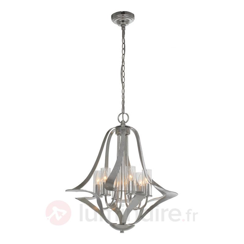 Lustre Spiro à six lampes, feuille d'argent - Lustres designs, de style