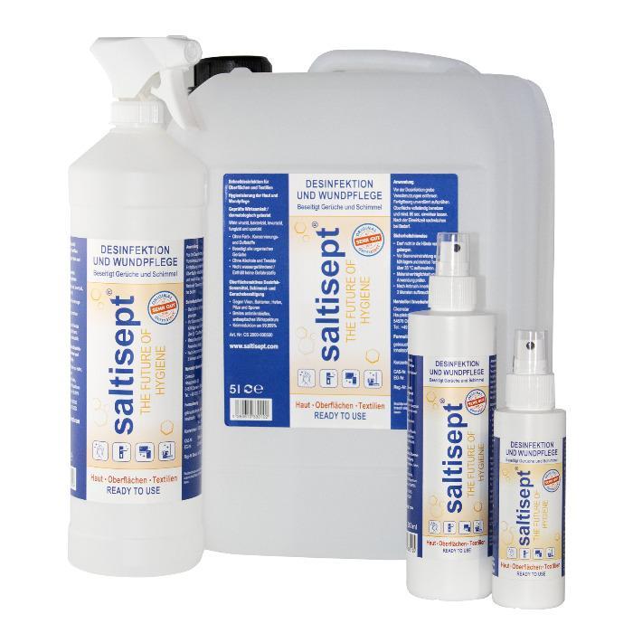 Saltisept - The Future of Hygiene - Schnelldesinfektion, Wundpflege und Hygiene für Haut, Oberflächen und Textilien