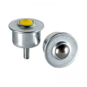 Ball Caster with steel casing and threaded pin - Ball Caster with sheet steel casing, collar and threaded pin