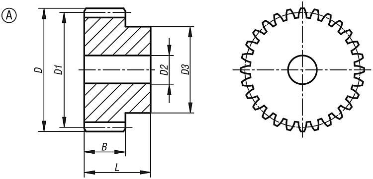 Engrenage en acier, module 2 Denture droite fraisée,... - Engrenages droit Crémaillères Engrenages coniques