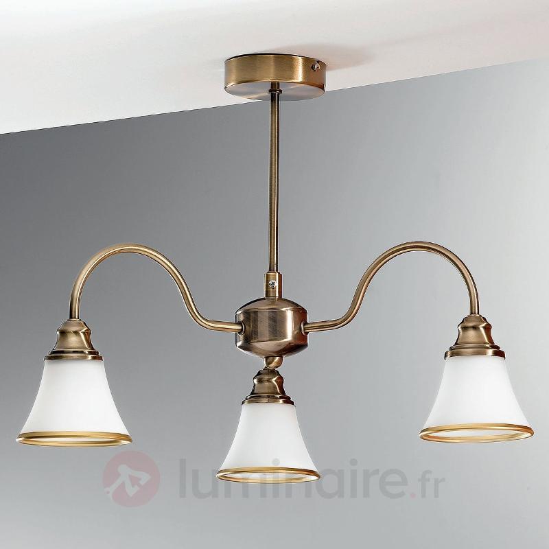 Plafonnier TILDA à 3 lampes aspect laiton ancien - Plafonniers classiques, antiques