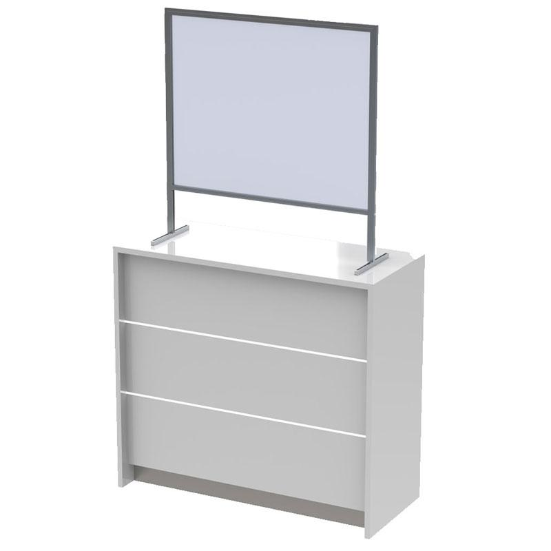 COUGH AND VIRUS PROTECTION  - COUNTER STAND / Alumium / polycarbonate screen, 4 mm