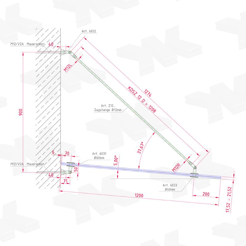 Canopy Set D (Ø 60 mm), Tension rod: 1208 mm - Suspended canopies