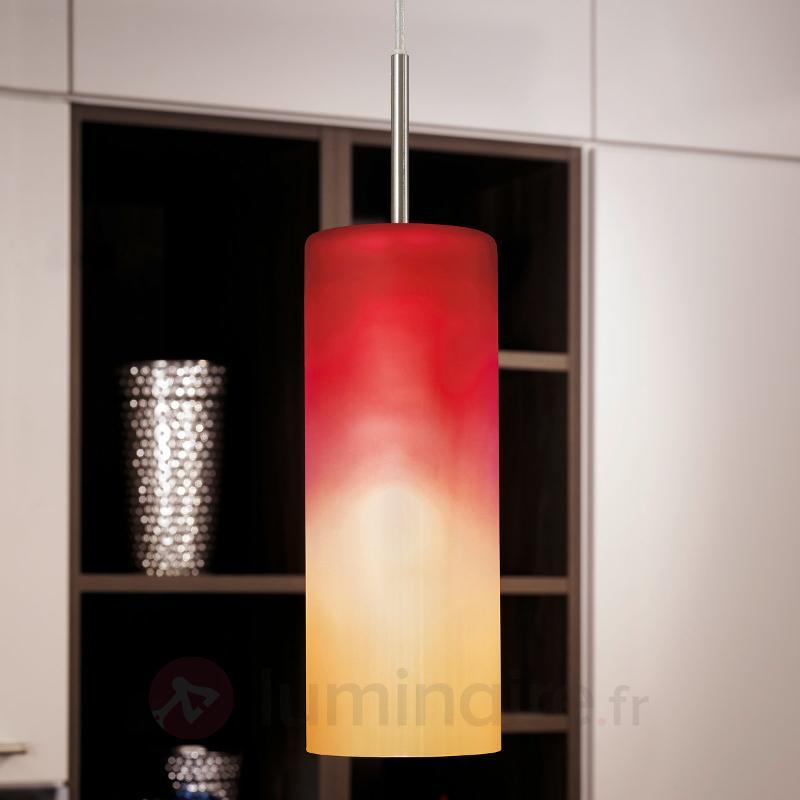 Suspension attractive TROY en rouge et orange - Suspensions en verre