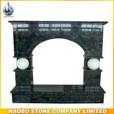 Haobo Carved Stone Black Marble Fireplace Hearth With Balls Decoration