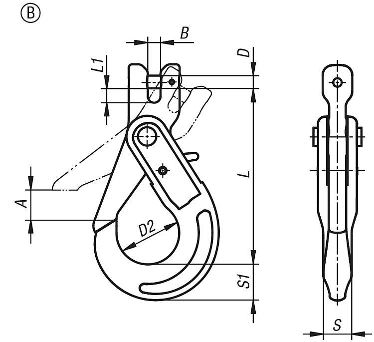 Crochet de charge de sécurité classe 10 - Anneaux de levage fixes et pivotants, anneaux à broche autobloquante