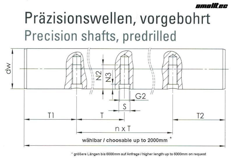 Predrilled shafts - Predrilled shaft dia 16h6 in Cf53-M5-100