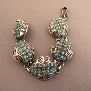 Bracelets - Argent, turquoises, Népal