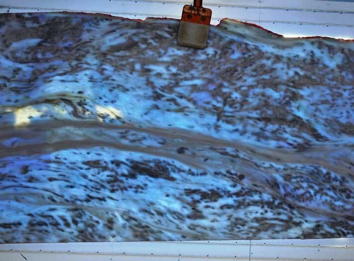 Инфинити Вайт - Белый мрамор с голубой эпоксидной сеткой, слэбы,плитка,блоки