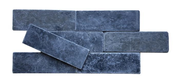 """3""""X9"""" Black Marble Tumbled Tile - Black Marble Tumbled Finish Natural Stone Tile"""