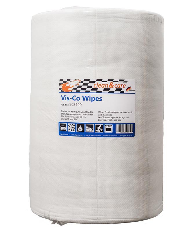 Clean&Care Vis-Co Wipes Industrierolle Reinigungstücher - weiß 400 Blatt Rolle