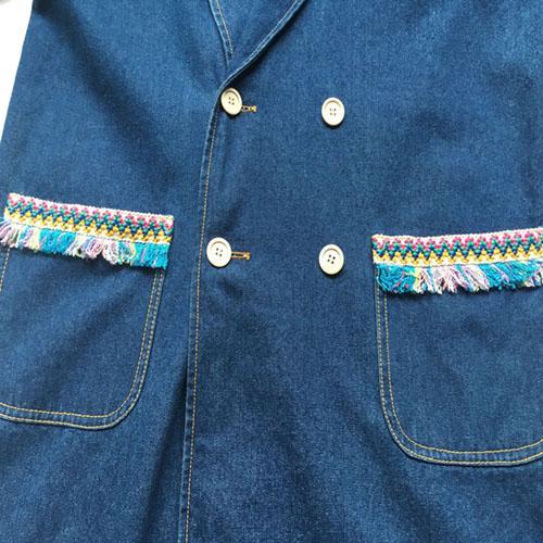 Women's long denim coat Stonewashed blue denim jacket -