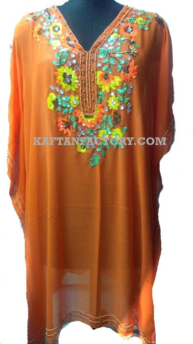 Beaded Short Caftan with Hand Embroidery | Party Wear