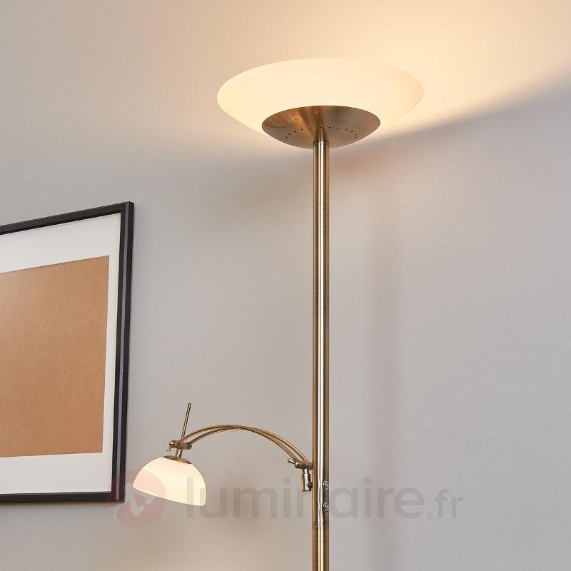 Lampadaire à éclairage ind. Raiko laiton ancien - Lampadaires LED à éclairage indirect