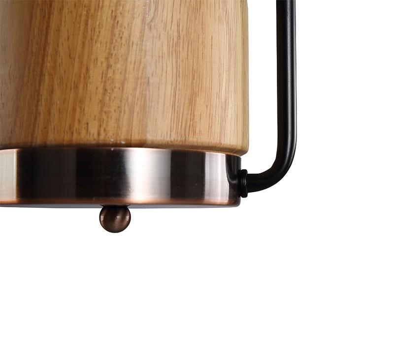 Suspension bois et cuivre - 60W, E27 - H.440 mm - Eclairage