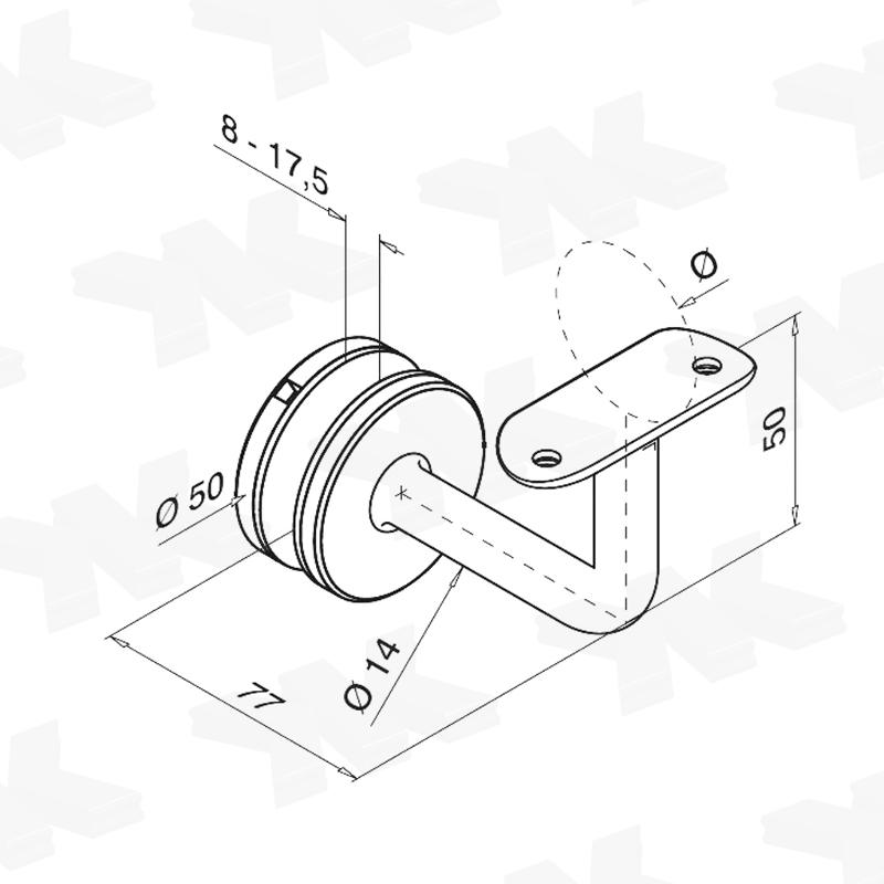 Handrail bracket for glass installation, rigid, for 8-21,52 mm glass - Handrail brackets