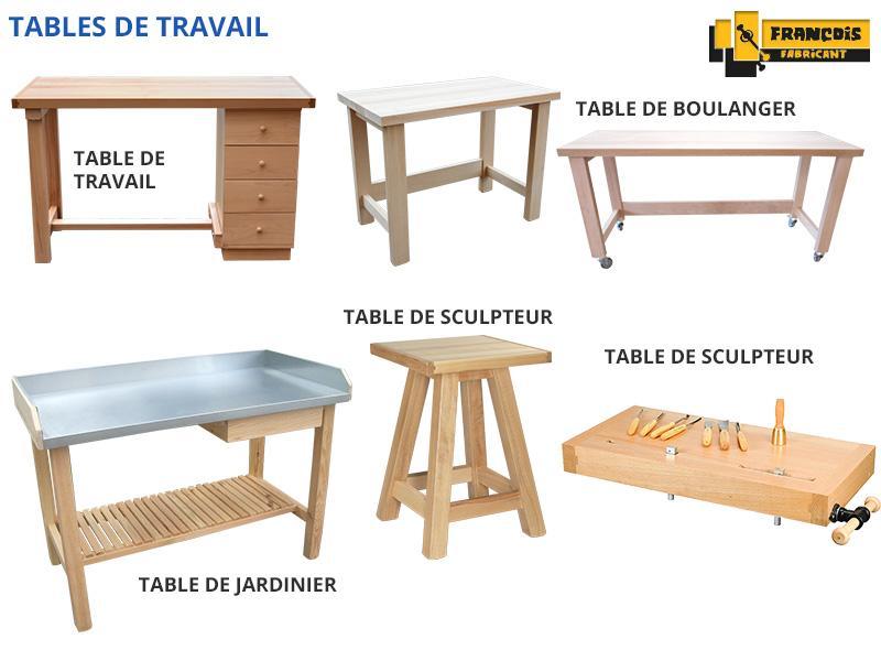 Tables de travail, tables de sculpteur, jardinier, boulanger