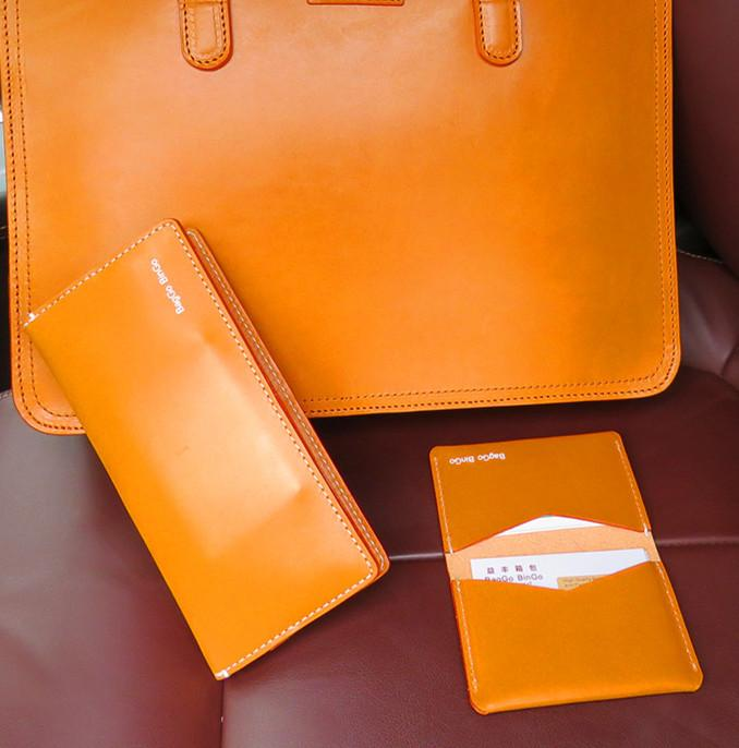 Vegetable Tanned Leather Long Wallet - Custom leather wallet,leather purse