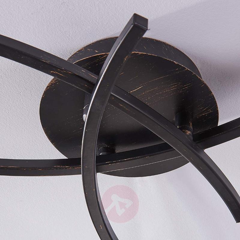 3-bulb LED ceiling lamp Della, black-gold - Ceiling Lights