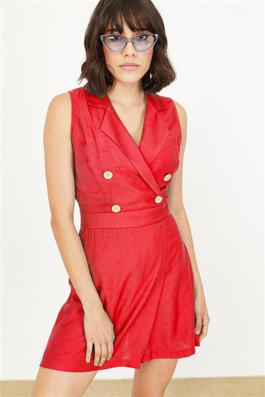 Women's Double-breasted Short Linen Coral Tulum - Women Jumpsuit