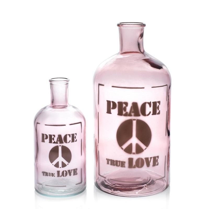 """Petite bouteille / Vase rose """"Peace True Love"""", 675 ml hauteur 19.5 cm - Vases, Lanternes, décoration"""