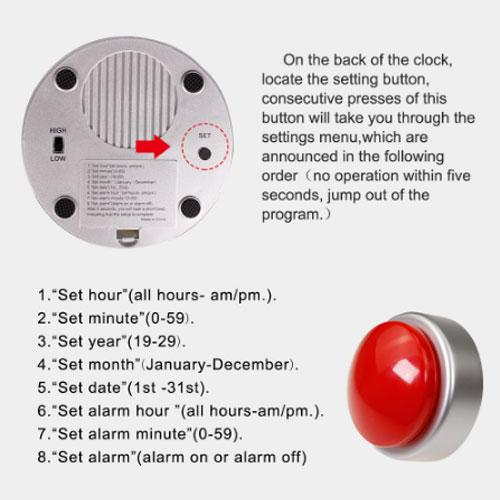 Talking buzzer alarm clock Sound Button Music Box - Sounds Button