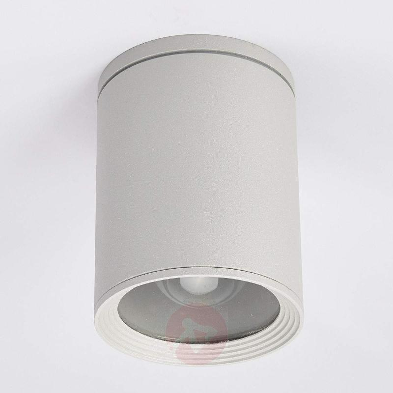 Minna round ceiling light in silver grey - Outdoor Ceiling Lights
